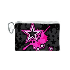 Pink Star Graphic Canvas Cosmetic Bag (Small)
