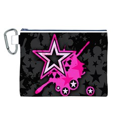 Pink Star Graphic Canvas Cosmetic Bag (large)