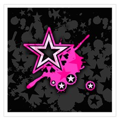 Pink Star Graphic Large Satin Scarf (Square)