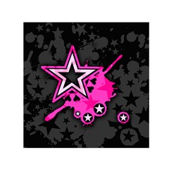 Pink Star Graphic Small Satin Scarf (Square)