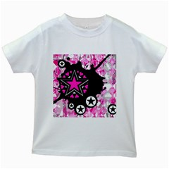 Pink Star Splatter Kids T-shirt (White)