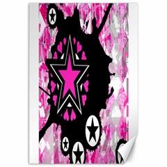 Pink Star Splatter Canvas 20  X 30  (unframed)