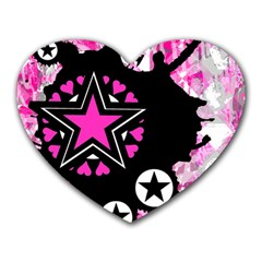 Pink Star Splatter Mouse Pad (heart)