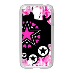 Pink Star Splatter Samsung Galaxy S4 I9500/ I9505 Case (white)
