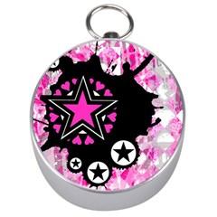 Pink Star Splatter Silver Compass