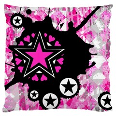 Pink Star Splatter Large Flano Cushion Case (One Side)