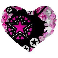 Pink Star Splatter Large 19  Premium Flano Heart Shape Cushion