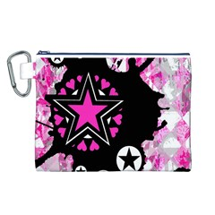 Pink Star Splatter Canvas Cosmetic Bag (Large)
