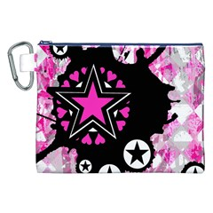 Pink Star Splatter Canvas Cosmetic Bag (XXL)