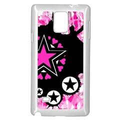 Pink Star Splatter Samsung Galaxy Note 4 Case (White)