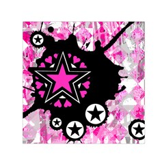 Pink Star Splatter Small Satin Scarf (Square)