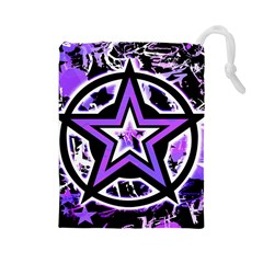 Purple Star Drawstring Pouch (large)