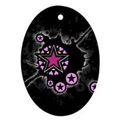 Pink Star Explosion Oval Ornament