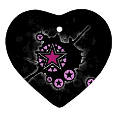 Pink Star Explosion Heart Ornament