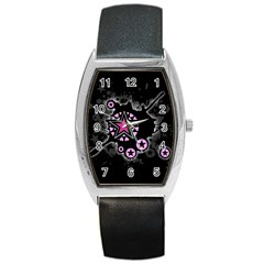 Pink Star Explosion Tonneau Leather Watch
