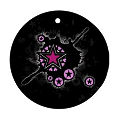 Pink Star Explosion Round Ornament (two Sides)