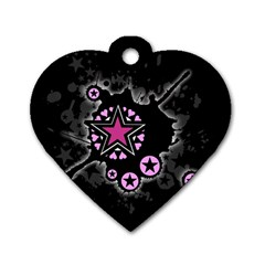 Pink Star Explosion Dog Tag Heart (one Sided)