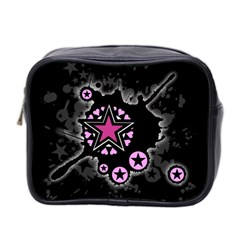 Pink Star Explosion Mini Travel Toiletry Bag (two Sides)