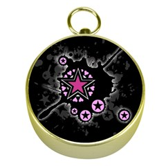 Pink Star Explosion Gold Compass