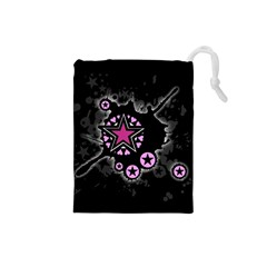 Pink Star Explosion Drawstring Pouch (Small)