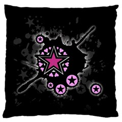 Pink Star Explosion Large Flano Cushion Case (One Side)