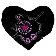Pink Star Explosion Large 19  Premium Flano Heart Shape Cushion