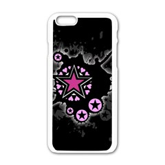 Pink Star Explosion Apple Iphone 6 White Enamel Case
