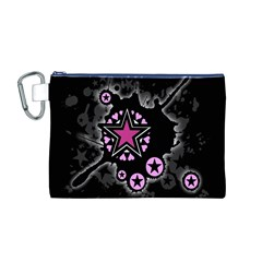 Pink Star Explosion Canvas Cosmetic Bag (Medium)