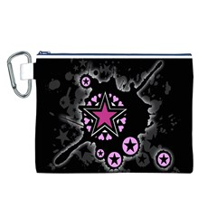 Pink Star Explosion Canvas Cosmetic Bag (Large)