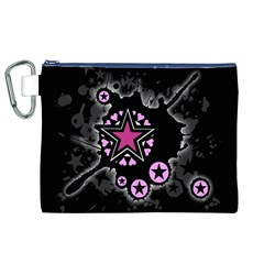 Pink Star Explosion Canvas Cosmetic Bag (XL)