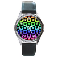 Rainbow Stars And Hearts Round Leather Watch (silver Rim)