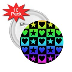 Rainbow Stars And Hearts 2 25  Button (10 Pack)