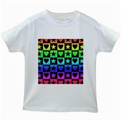 Rainbow Stars and Hearts Kids T-shirt (White)