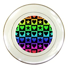 Rainbow Stars And Hearts Porcelain Display Plate