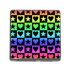 Rainbow Stars And Hearts Memory Card Reader With Storage (square)