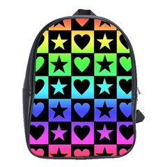 Rainbow Stars And Hearts School Bag (xl)