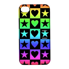 Rainbow Stars And Hearts Apple Iphone 4/4s Hardshell Case With Stand