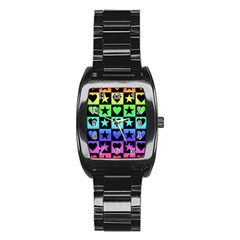 Rainbow Stars And Hearts Stainless Steel Barrel Watch