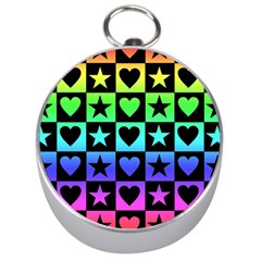 Rainbow Stars and Hearts Silver Compass