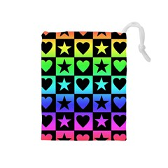 Rainbow Stars And Hearts Drawstring Pouch (medium)