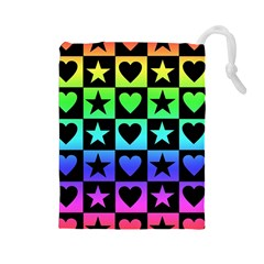 Rainbow Stars and Hearts Drawstring Pouch (Large)
