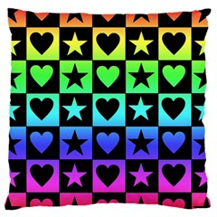 Rainbow Stars and Hearts Large Flano Cushion Case (One Side)