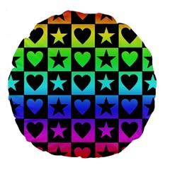 Rainbow Stars and Hearts Large 18  Premium Flano Round Cushion