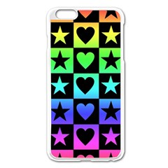 Rainbow Stars and Hearts Apple iPhone 6 Plus Enamel White Case