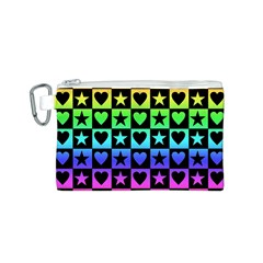 Rainbow Stars and Hearts Canvas Cosmetic Bag (Small)