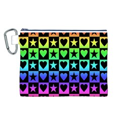 Rainbow Stars and Hearts Canvas Cosmetic Bag (Large)