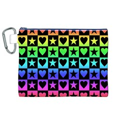Rainbow Stars and Hearts Canvas Cosmetic Bag (XL)