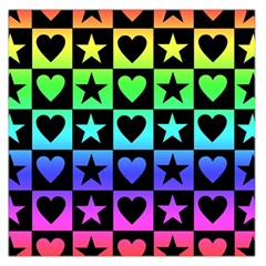 Rainbow Stars and Hearts Large Satin Scarf (Square)