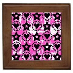 Star And Heart Pattern Framed Ceramic Tile