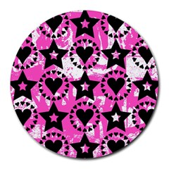 Star And Heart Pattern 8  Mouse Pad (round)